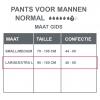 Maattabel pants normal mannen lxl