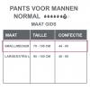 Maattabel pants normal mannen