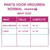 Maattabel pants normal vrouwen l